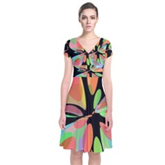 Colorful abstract flower Short Sleeve Front Wrap Dress