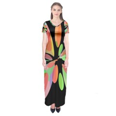 Colorful Abstract Flower Short Sleeve Maxi Dress