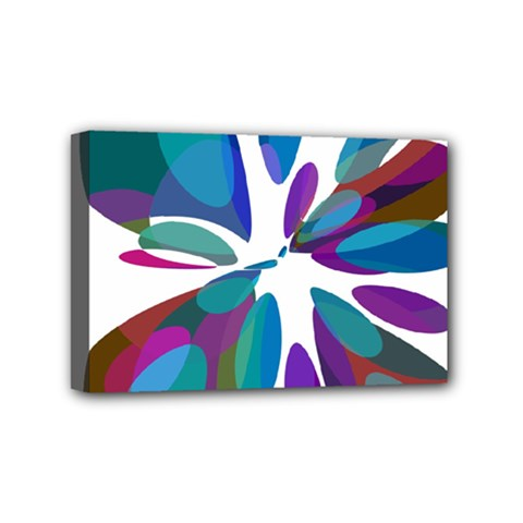 Blue abstract flower Mini Canvas 6  x 4