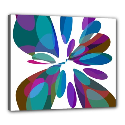 Blue abstract flower Canvas 24  x 20