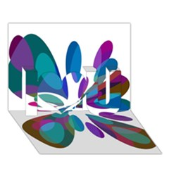 Blue abstract flower I Love You 3D Greeting Card (7x5)