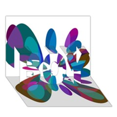 Blue abstract flower BOY 3D Greeting Card (7x5)