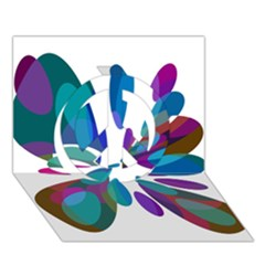 Blue abstract flower Peace Sign 3D Greeting Card (7x5)