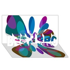 Blue abstract flower BEST BRO 3D Greeting Card (8x4)