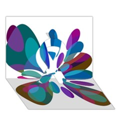 Blue abstract flower Ribbon 3D Greeting Card (7x5)
