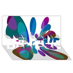 Blue abstract flower BELIEVE 3D Greeting Card (8x4)