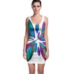 Blue abstract flower Sleeveless Bodycon Dress