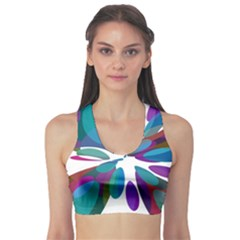 Blue abstract flower Sports Bra