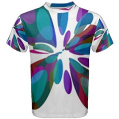 Blue abstract flower Men s Cotton Tee