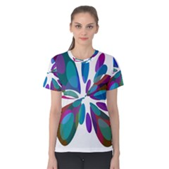 Blue abstract flower Women s Cotton Tee