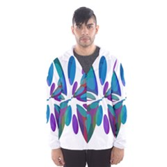 Blue abstract flower Hooded Wind Breaker (Men)