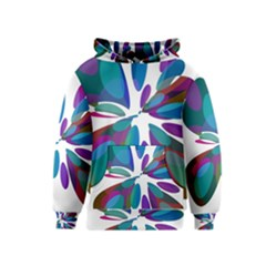 Blue abstract flower Kids  Pullover Hoodie