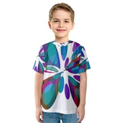 Blue abstract flower Kid s Sport Mesh Tee