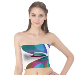 Blue abstract flower Tube Top