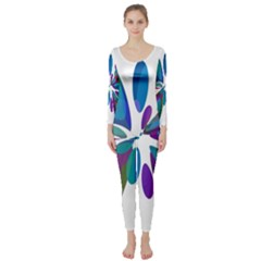 Blue abstract flower Long Sleeve Catsuit