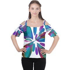 Blue abstract flower Women s Cutout Shoulder Tee