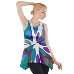 Blue abstract flower Side Drop Tank Tunic