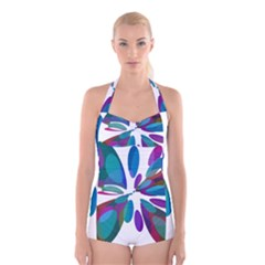 Blue Abstract Flower Boyleg Halter Swimsuit