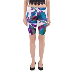 Blue Abstract Flower Yoga Cropped Leggings