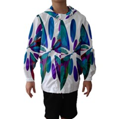 Blue Abstract Flower Hooded Wind Breaker (kids)
