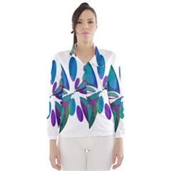 Blue abstract flower Wind Breaker (Women)