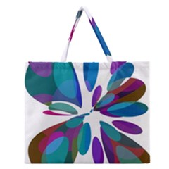 Blue abstract flower Zipper Large Tote Bag