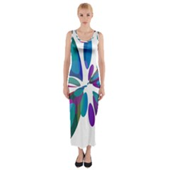 Blue abstract flower Fitted Maxi Dress