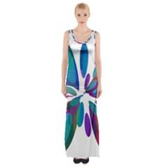 Blue abstract flower Maxi Thigh Split Dress