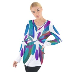 Blue Abstract Flower Women s Tie Up Tee