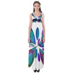 Blue abstract flower Empire Waist Maxi Dress