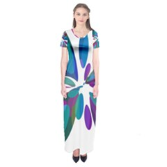 Blue abstract flower Short Sleeve Maxi Dress