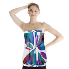 Blue abstract flower Strapless Top