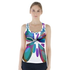 Blue Abstract Flower Racer Back Sports Top