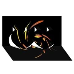 Orange twist Twin Hearts 3D Greeting Card (8x4)