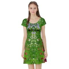 Floral Nature Short Sleeve Skater Dress
