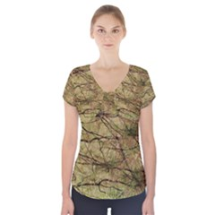 Camo Short Sleeve Front Detail Top