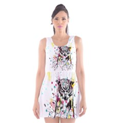 Owl Tree Scoop Neck Skater Dress