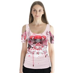 Give Us This Day Butterfly Sleeve Cutout Tee