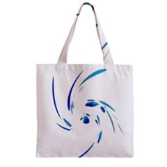 Blue Twist Zipper Grocery Tote Bag