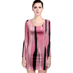 Black and pink Camo abstract Long Sleeve Bodycon Dress