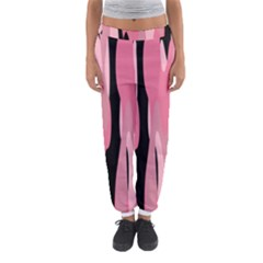 Black And Pink Camo Abstract Women s Jogger Sweatpants
