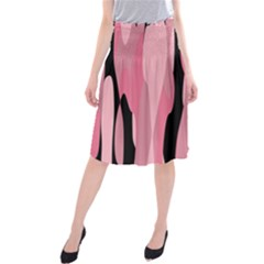 Black and pink Camo abstract Midi Beach Skirt