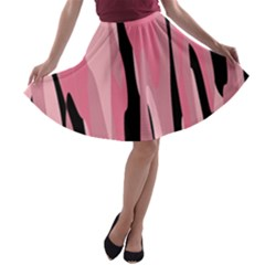 Black and pink Camo abstract A-line Skater Skirt