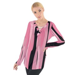 Black and pink Camo abstract Women s Tie Up Tee