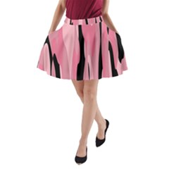 Black and pink Camo abstract A-Line Pocket Skirt