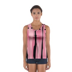 Black and pink Camo abstract Women s Sport Tank Top