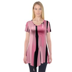 Black And Pink Camo Abstract Short Sleeve Tunic