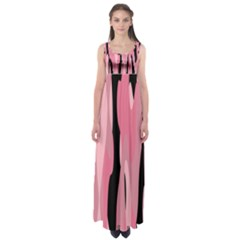 Black And Pink Camo Abstract Empire Waist Maxi Dress