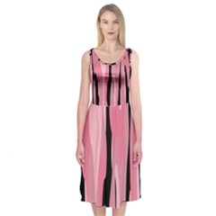 Black and pink Camo abstract Midi Sleeveless Dress