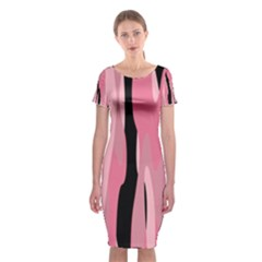 Black and pink Camo abstract Classic Short Sleeve Midi Dress